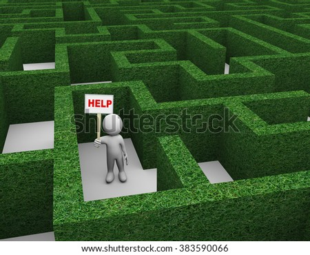 3d illustration of man holding word help banner in complicated puzzle hedge maze. 3d rendering of human people character. - stock photo