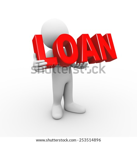 3d illustration of man holding word text loan. 3d rendering of human people character