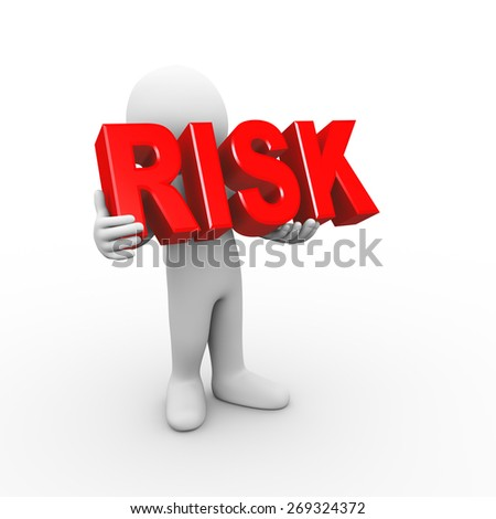 3d illustration of man holding word text risk.  3d rendering of human people character - stock photo