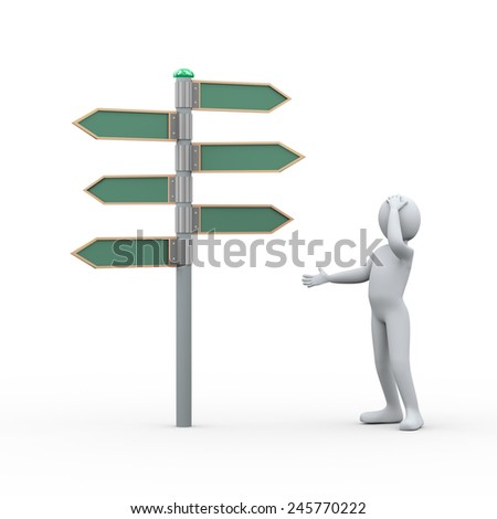 3d illustration of man in doubt standing in front of blank sign post.  3d rendering of human people character - stock photo