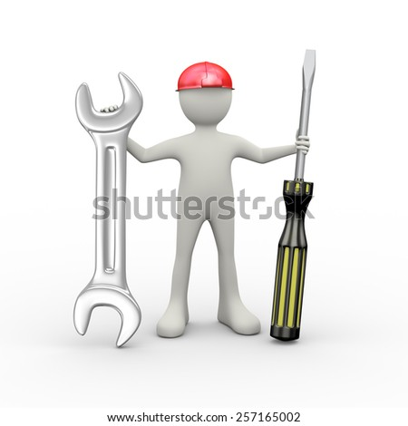 3d illustration of man in red hardhat helmet holding screwdriver and wrench repairing tool. 3d human person character and white people - stock photo