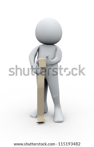 3d Illustration of man looking at long bill. 3d rendering of human character.
