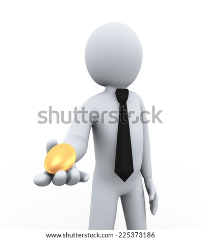 3d illustration of man offering shiny golden egg. 3d rendering of human people character