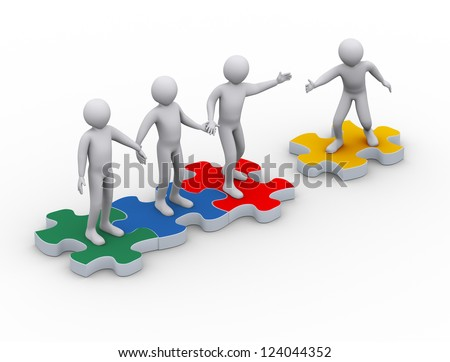 3d illustration of man on puzzle piece joining group of people. 3d rendering of people - human character. - stock photo