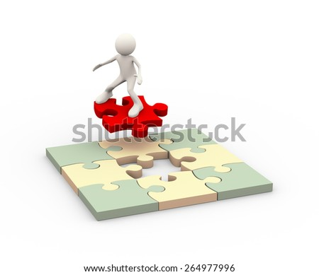 3d illustration of man on red final puzzle piece to solve problem. 3d human person character and white people - stock photo