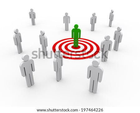 3d illustration of man on target. concept of targeting buyers and customers - stock photo