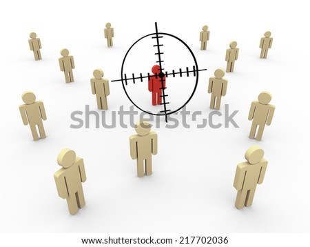 3d illustration of man on target reticule.  Concept of targeting new customers and buyers. - stock photo
