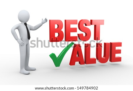3d illustration of man presenting best value having right check mark.  3d rendering of human people character.  - stock photo
