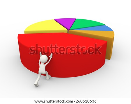 3d illustration of man pushing pie chart large piece. 3d human person character and white people - stock photo