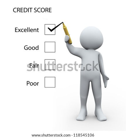 3d Illustration of man rating credit score glass board. 3d rendering of human character - stock photo