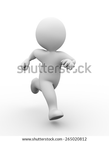 3d illustration of man running.  3d rendering of human people character - stock photo