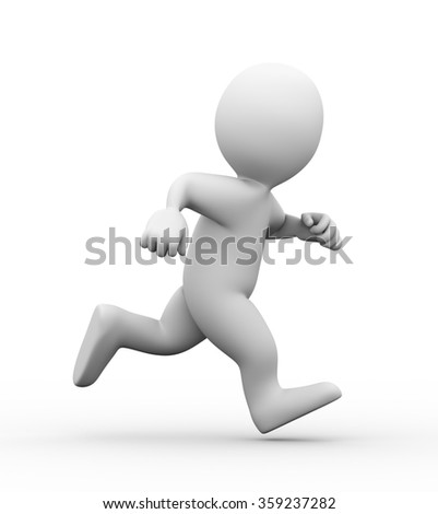 3d illustration of man running on white background.  3d rendering of human people character - stock photo
