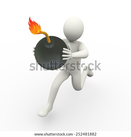 3d illustration of man running with a bomb.  3d rendering of human people character. - stock photo