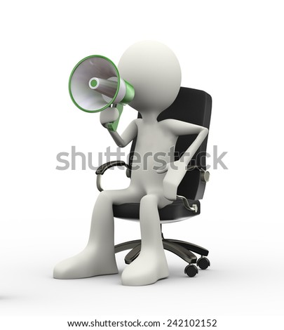 3d illustration of man sitting on business chair yelling through megaphone. 3d human person character and white people. - stock photo