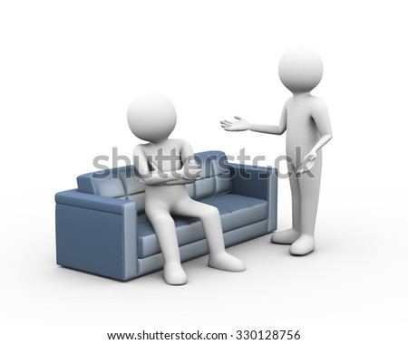 3d illustration of man sitting on sofa having conflict dispute. 3d human man person character and white people