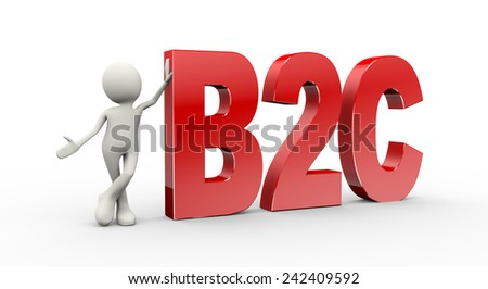 3d illustration of man standing with b2c business to consumer. 3d human person character and white people - stock photo