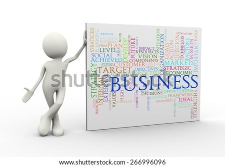 3d illustration of man standing with business wordcloud word tags. 3d human person character and white people