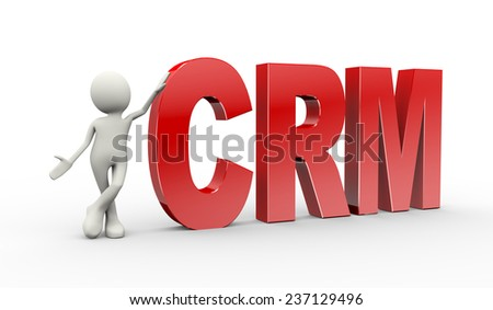 3d illustration of man standing with crm customer relationship management. 3d human person character and white people - stock photo