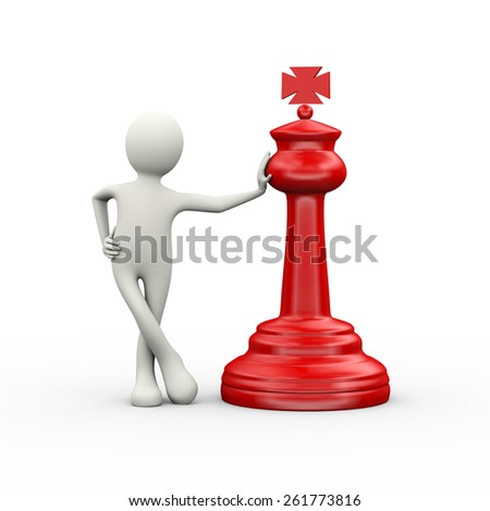 3d illustration of man standing with red big chess piece. 3d human person character and white people - stock photo