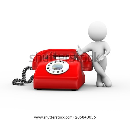3d illustration of man standing with red rotary telephone.  3d rendering of human people character - stock photo