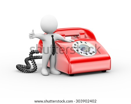 3d illustration of man standing with  rotary telephone showing thumb up.  3d rendering of human people character - stock photo