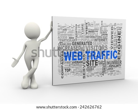 3d illustration of man standing with web traffic wordcloud word tags. 3d human person character and white people
