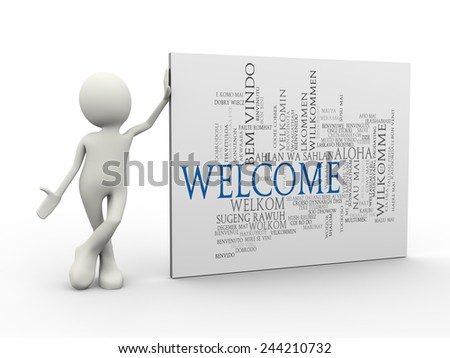 3d illustration of man standing with welcome word tags wordcloud. 3d human person character and white people - stock photo