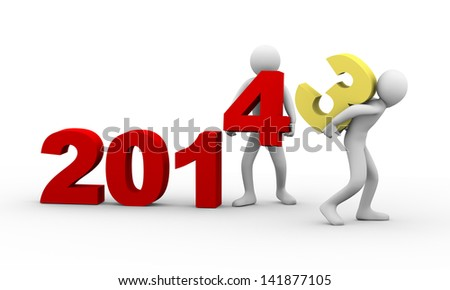 3d illustration of man taking away number 3 of year 2014 whiel another person placing digit 4. 3d rendering of human people character.