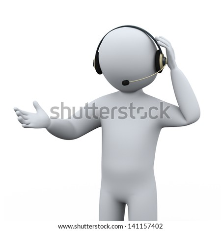 3d illustration of man with headphone at call center for customer help and support.  3d rendering of human people character.