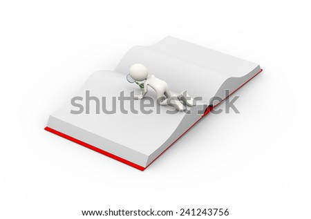 3d illustration of man with magnifying glass looking and finding something in the open book . 3d human person character and white people - stock photo