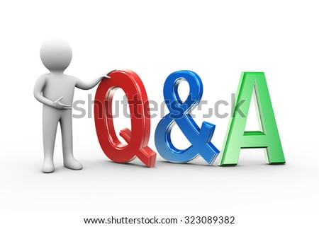 3d illustration of man with word text q&a. 3d human person character and white people - stock photo