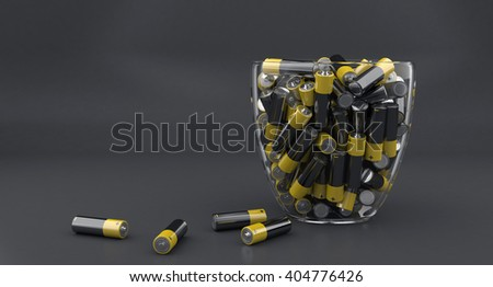 3d illustration of many batteries in glass vase - stock photo