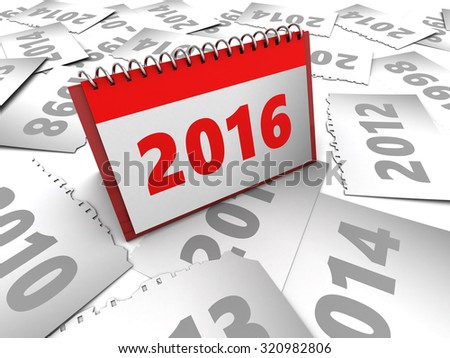 3d illustration of many years pages with new 2016  - stock photo
