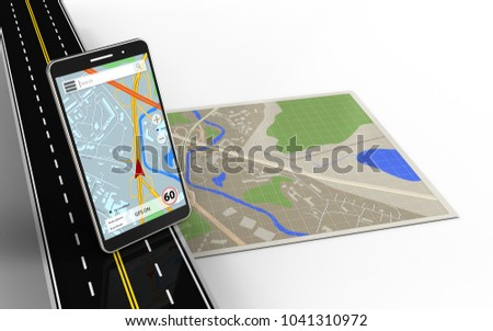 3d illustration of map with mobile phone navigation and
