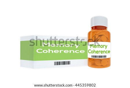 """3D illustration of """"Memory Coherence"""" title on pill bottle, isolated on white. Human personality concept. - stock photo"""