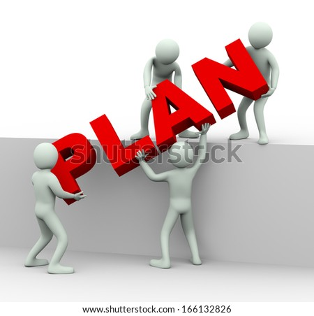 D People Man Person Word Plan Stock Illustration