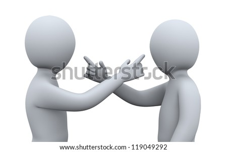 3d illustration of men pointing at each other. 3d rendering of human character. - stock photo