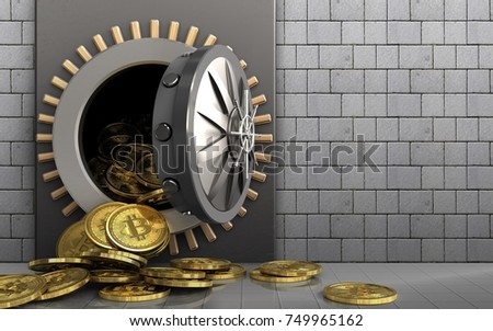 3d illustration of metal box with bitcoins heap over white stones background