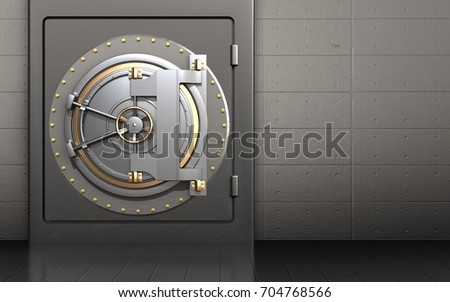 3d illustration of metal safe with bank door over iron wall background