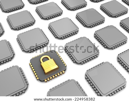 3d illustration of microchip with encryption and many others - stock photo