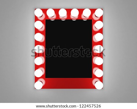 3d illustration of mirror with bulbs for makeup - stock photo