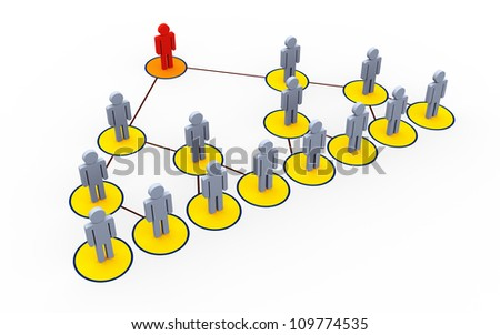 3d illustration of mlm - multi level marketing concept