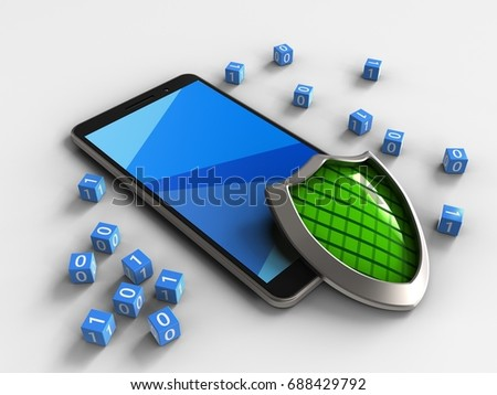 3d illustration of mobile phone over white background with binary cubes and shield