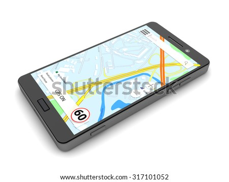 3d illustration of mobile phone with navigation software, over white background