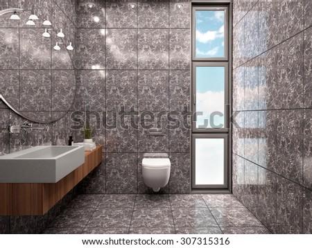 3d illustration of modern bathroom interior minimalist style in  - stock photo