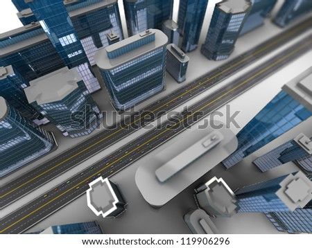 3d illustration of modern city aerial view - stock photo