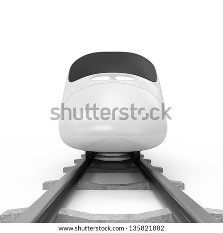 3d Illustration of Modern High-Speed Train isolated on white background - stock photo