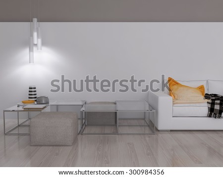 3D illustration of modern living room in interior - stock photo