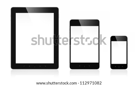 3d illustration of modern mobile devices isolated on white background