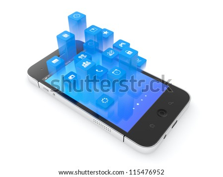 3D illustration of modern mobile phone with flying icons on top of it - stock photo